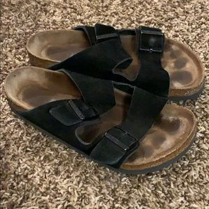Woman's BIRKENSTOCK Black leather Sandals 39 / 8